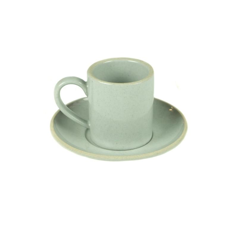 TAZA CAFÉ CON PLATO 2 TEXTURAS 9X6X6