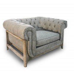 SOFA 1 PL VINTAGE GRIS FABRIC CHESTERFIELD