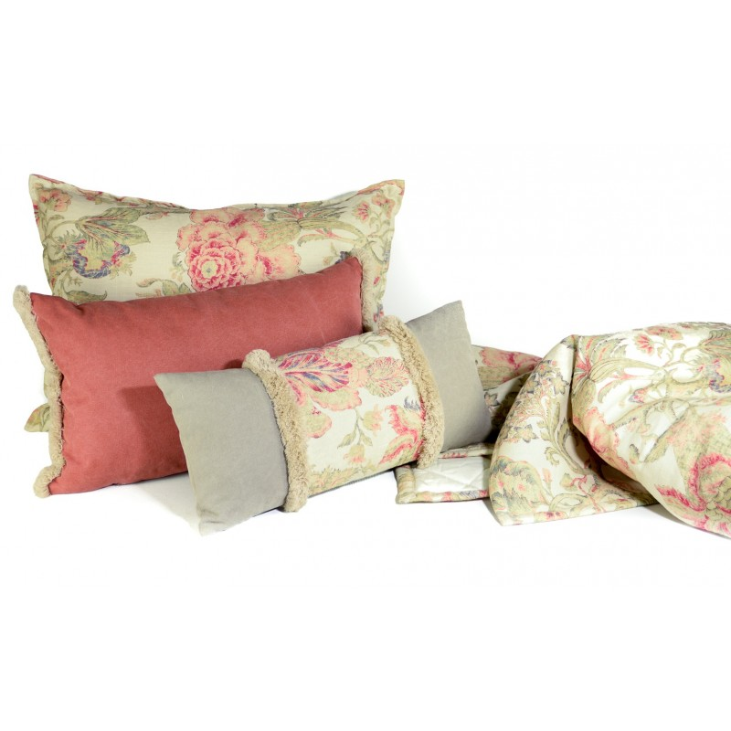PLAID MANTA PIE CAMA ESTAMPADO FLORAL CORAL COLECCION BOTANIC CORAL