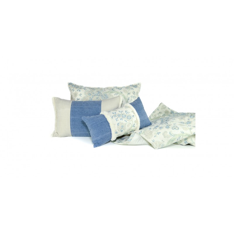 PLAID MANTA PIE CAMA ESTAMPADO FLORAL AZUL 125X235 COLECCION BOTANIC BLUE