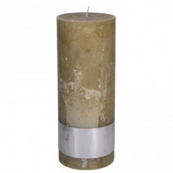 RUSTIC OLD YELLOW PILLAR CANDLE