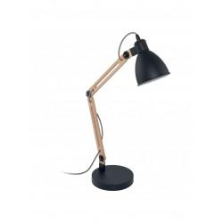 LAMPARA SOBREMESA MADERA NATURAL NEGRA 18X18X44.5