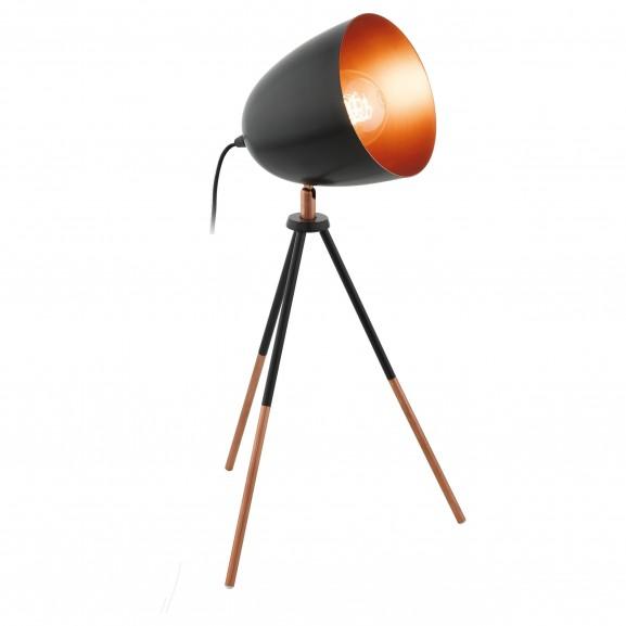 LAMPARA SOBREMESA METAL TRIPODE NEGRO COBRE 29X29X44