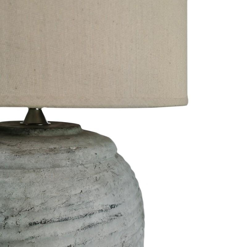 LAMPARA MESA RAYAS HORIZONTALE GRIS DECAPADO 37X37X58