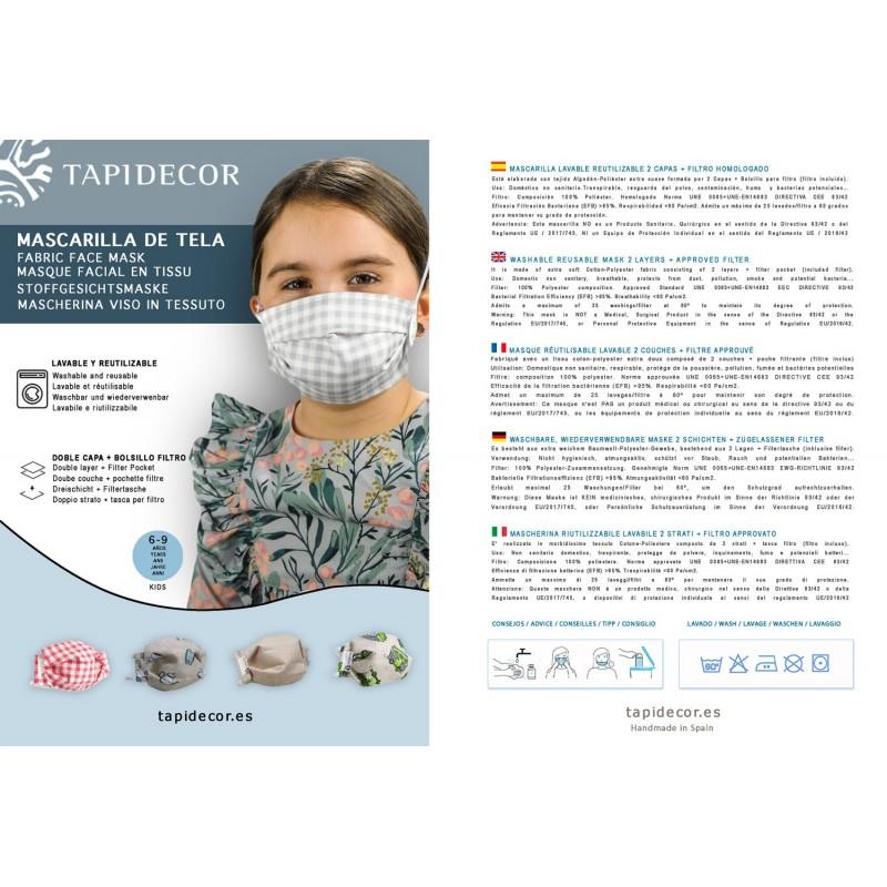 PACK 5 MASCARILLAS TELA INFANTIL LAVABLES REUTILIZABLES TURQUESA 3 CAPAS ALGODÓN + 5 FILTROS HOMOLOGADOS AJUSTE ELÁSTICO