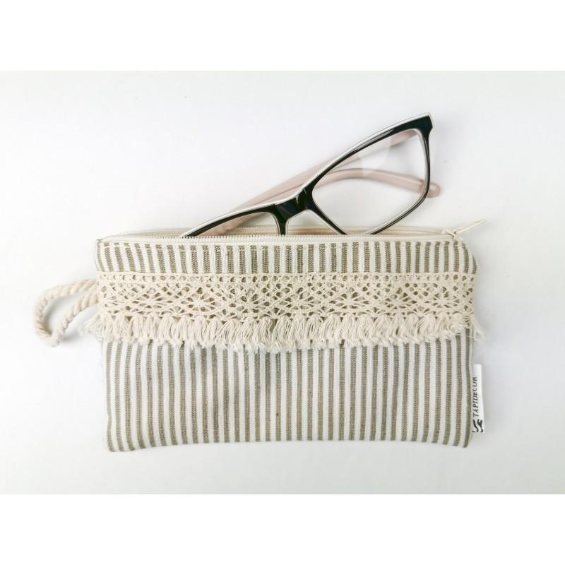 Stripe 2 Piezas Funda Gafas, Monedero+Mascarila Bolso tela loneta rayas beige con fleco.