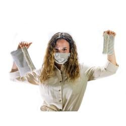 Stripes Mascarilla higiénica lavable + Funda | Bolso mano neceser mujer. Selecciona la combinación que más te guste.