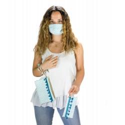 Aqua Collection: elige entre Bolso de mano/Neceser ó Funda de mascarilla/gafas y Mascarilla lavable coordinada.
