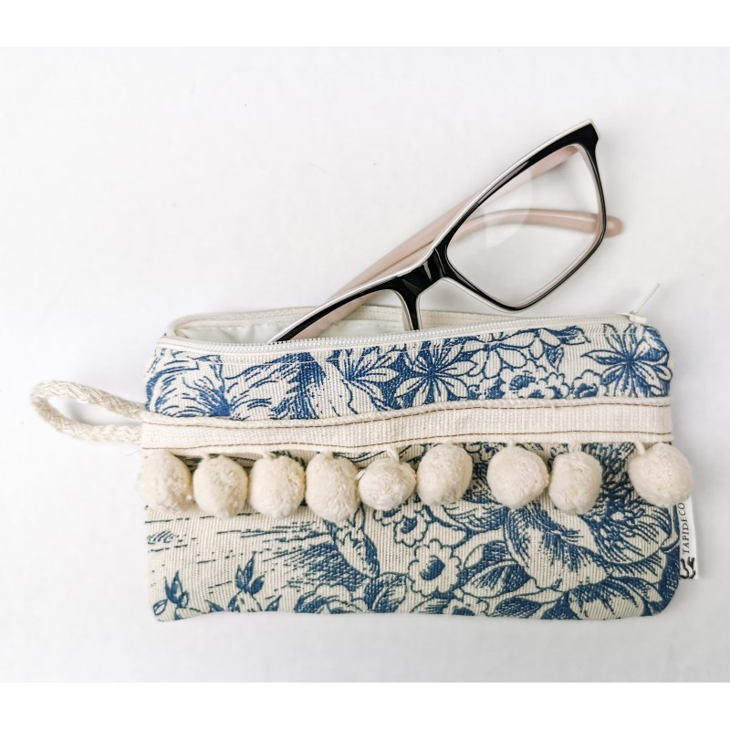 Pon-Pon 2 Piezas Funda Gafas-Monedero + Mascarilla Bolso Tela loneta estampada Azul Beige