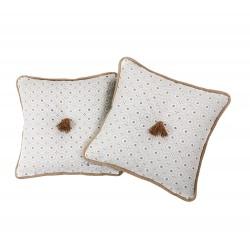 2 Fundas Cojín decorativo bordado Blanco y Ocre 35 x 35 con Cremallera, Cama, Sofá | Liberty Camel