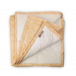 Plaid Manta acolchada Flores Amarillo Ocre pie de cama 90-105 y 135-150 | Liberty Camel