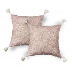 2 Fundas Cojín decorativo Rosa palo Flores 45 x 45 con Borlas, Cama, Sofá, con Cremallera | Liberty Nude