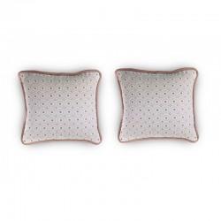 2 Fundas Cojín decorativo bordado Blanco y Rosa palo 35 x 35 con Cremallera, Cama, Sofá | Liberty Nude