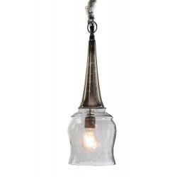 LAMPARA DE TECHO COLGANTE GRIS ALUMINO Y PANTALLA DE CRISTAL 16X50