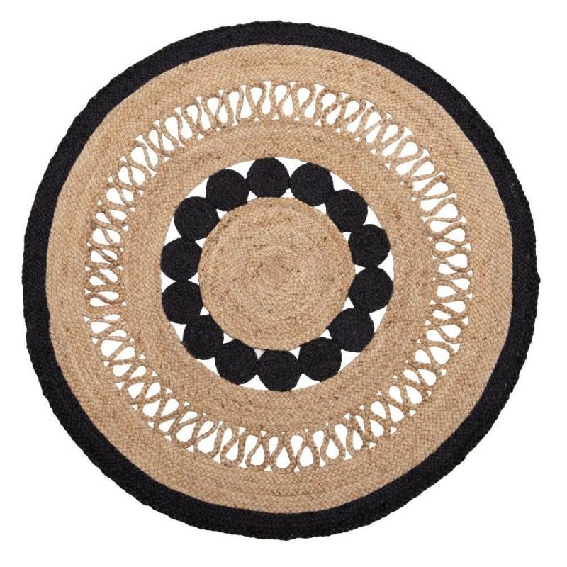 Alfombra redonda yute natural y negro 120x120x1