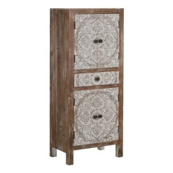 Armario pequeño madera pino tallada blanco roto y marrón decapado 4 puertas 1 cajón 45x30x110