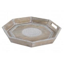 Bandeja madera mango y aluminio decape blanco 39x5x39