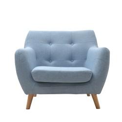Butacas Sillón estilo nórdico tapizado loneta azul claro patas madera haya natural 89x80x78