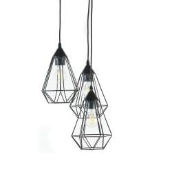 3 LAMPARAS DE TECHO NEGRAS METAL FORMA PIRAMIDAL 31X110