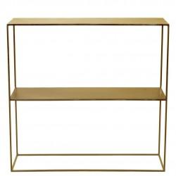 Consola medern metal dorada 1 estante 80x22x80