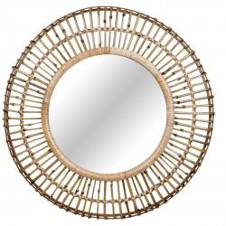 Espejo redondo caña natural nomade decoración pared 81x9x81 diámetro espejo interior 45 cm.