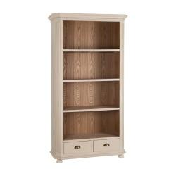 Estantería Librería suelo madera DM crema natural 4 estantes y 2 cajones 100x40x185