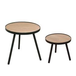 Mesa Auxiliar Set 2 uds. redonda Tapa madera MDF estructura y patas metálicas en color negro 50x51x50