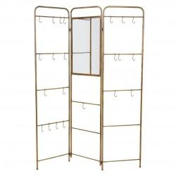 Parabán perchero con espejo y colgadores metal dorado 3 hojas 129x24x180