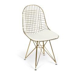 Silla acero dorado cojín blanco en asiento 45x54x53