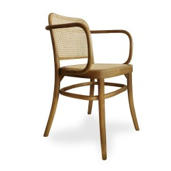 Silla butaca brazos madera color natural asiento y respaldo rattan 81x48x41