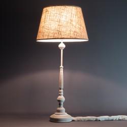 LAMPARA DE MESA METAL ENVEJECI DO COLOR ARENA PANTALLA LINO
