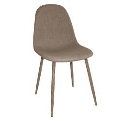 Silla tapizada marrón patas metálicas símil madera 45x87x52