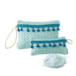 Aqua Neceser, Bolso de Mano, Funda Gafas y Mascarilla, Estuche. Tela loneta Azul turquesa cierre cremallera con flecos.