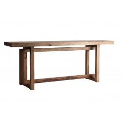 Consola grande madera macica pino reciclado y piedra 200x40x76