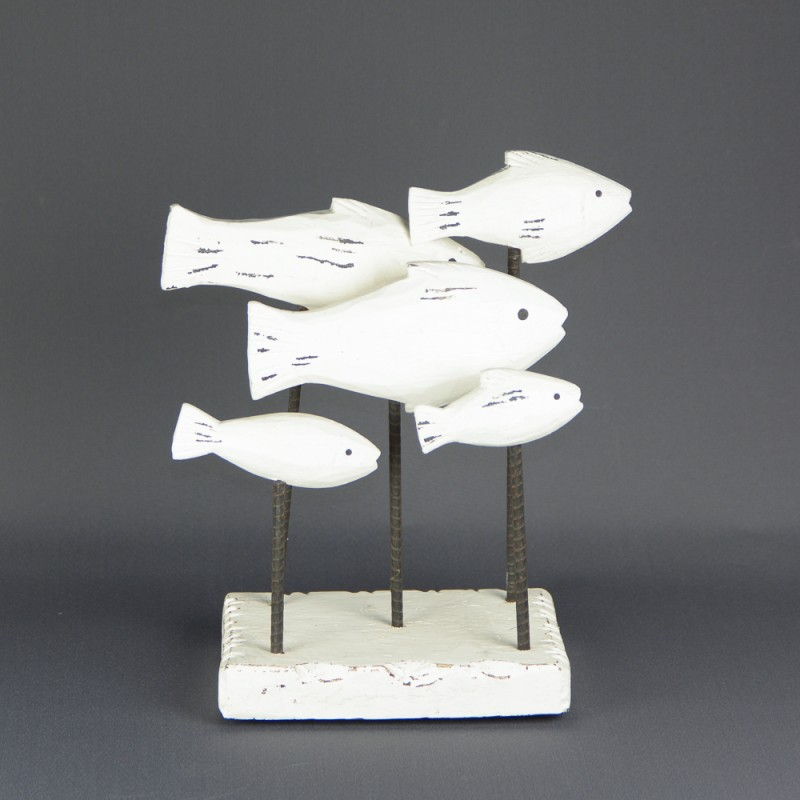 ESTATUA FIGURA DECORATIVA BANC O DE PECES MAERA BLANCO 30X32