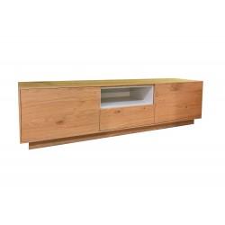 Cómoda baja, mueble TV madera gris topo 10 cajones 1 bandeja extraible 150X55X60