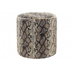Puf artesanal cilindro de tela serpiente marrón relleno espuma alta densidad 40x40x40