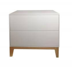 Mesita noche 2 cajones fabricada en madera haya macica color blanco roto lacado y patas color natural 60x45x53