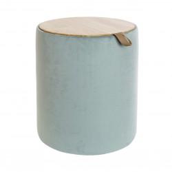Pouf cilindro hueco con tapa madera tejido atreciopelado veder mar 35x35x43