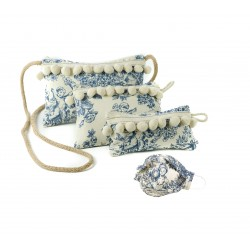 4 Piezas: Bolso de mujer Bandolera + Bolso Neceser + Funda Mascarilla, Gafas + Mascarilla lavable | Pon-Pon Collection