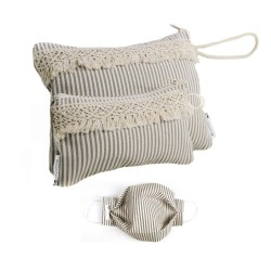 Stripes 2 Piezas Funda Gafas, Monedero+Mascarila Bolso tela loneta rayas beige con fleco.