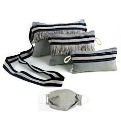 Blue Line Funda Gafas, Mascarilla, Monedero + Mascarilla + Neceser, Bolso mano Tela loneta gris con cremallera