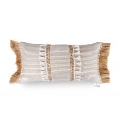 Funda Cojín beige marrón fleco rafia y doble tira central 60x30. Colección Nature