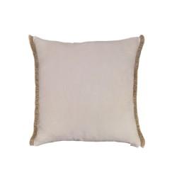 Funda Cojín blanco roto fleco arena lateral 50x50. Colección Basic