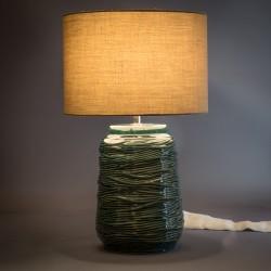 LAMPARA DE MESA CERAMICA VERDE OSCURO CIRCULAR PANTALLA LISA