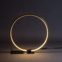 LAMPARA DE MESA CIRCULAR DORAD A NEGRA DIAMETRO 45 LUZ LED