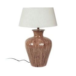 LAMPARA CERAMICA ANFORA MARRON ROSADO 24X24X40,5