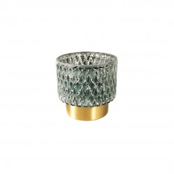 OMER GLASS GREEN VOTIVE STORML GOLD BASE S 10X10X10
