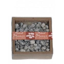Caja piedras decorativas gris contorno redondeado