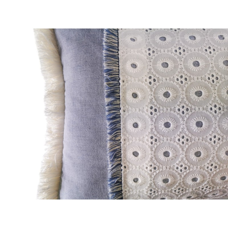 Funda Cojín decorativo Azul Bordado 60 x 30 con Flecos, Cama, Sofá, con Cremallera | Liberty Blue
